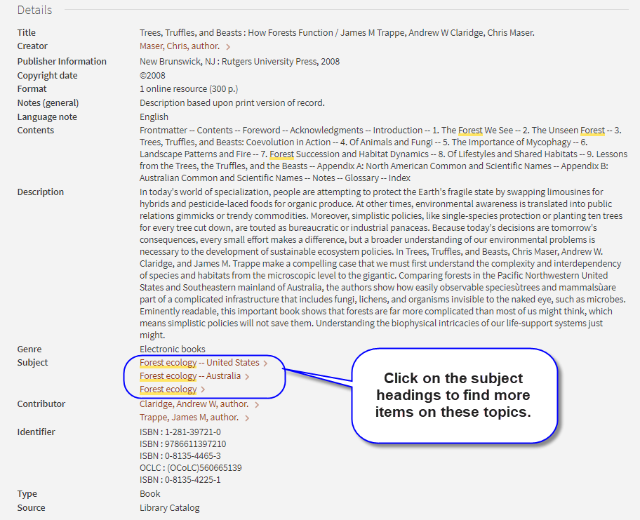 Screen shot highlighting library of congress subject headings in catalog record for Trees, Truffles and Beasts