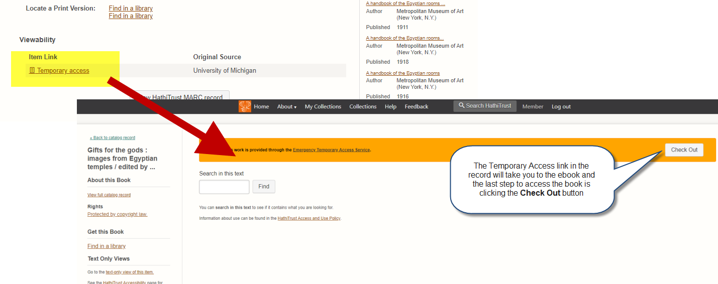 Screen shot: HathiTrust temporary access link and ebook check out button.