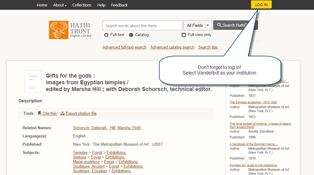 Screenshot: Log in button to access electronic content in HathiTrust.