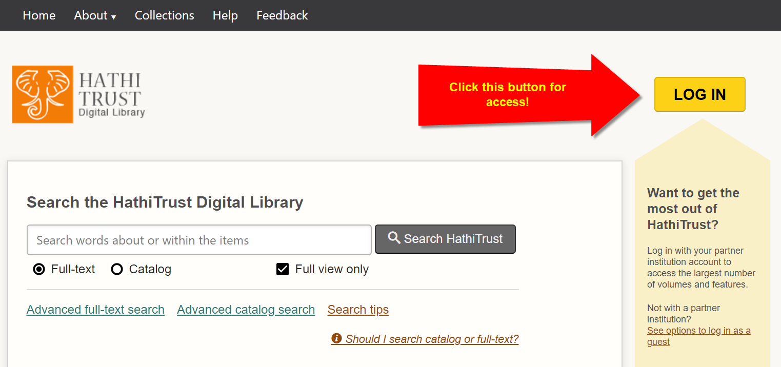 HathiTrust homepage with login button, see top right of screen