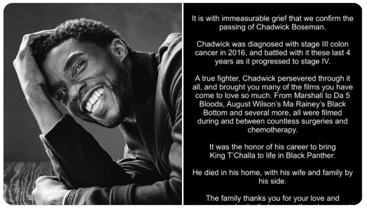 Split panel with Chadwick Boseman smiling on one side, and family's tweet announcing his death on the other side.