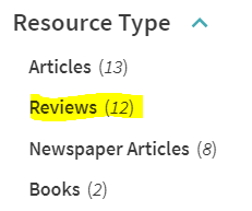 """Reviews"" is highlighted as one of Resource Types"