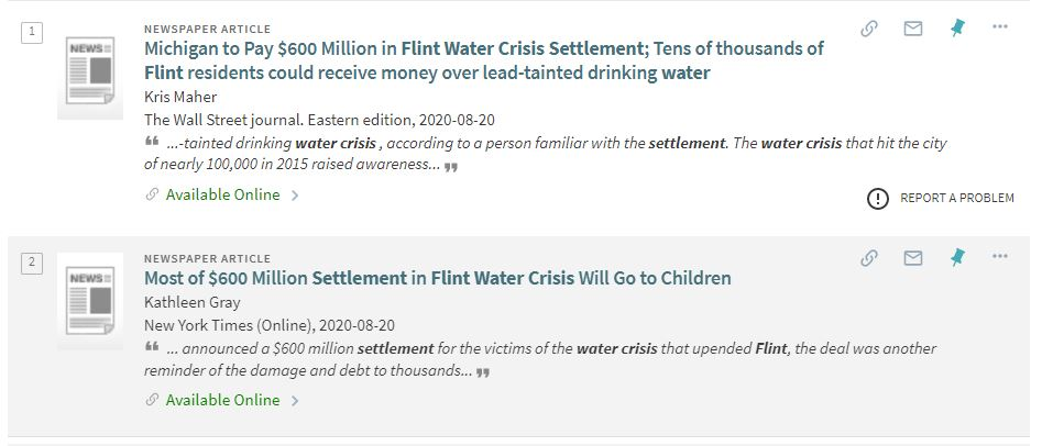 List of two different articles on the topic of the Flint water crisis settlement.