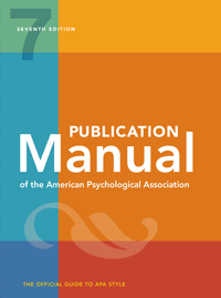 Book cover for Publication Manual of the American Psychological Association, 7th edition.