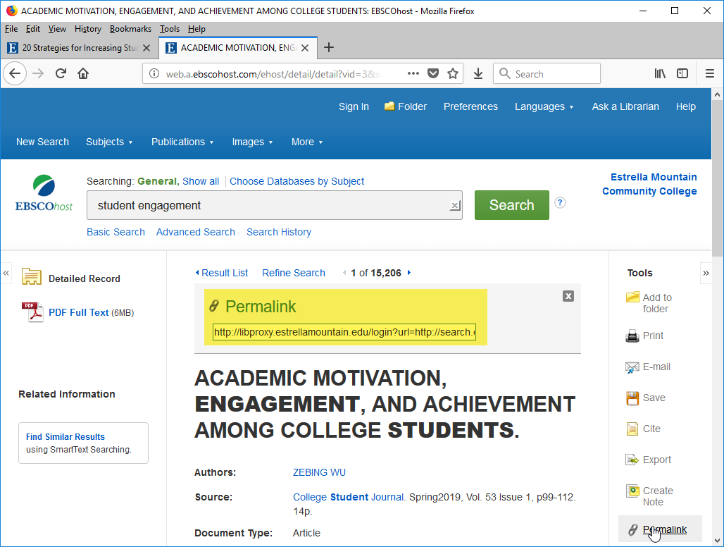 EBSCOhost example of displayed permalink