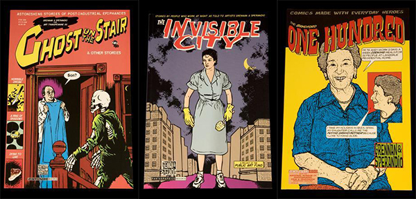 Cover art for three comic books created by the Kartoon Kings: Ghost on the Stair, Invisible City, and One Hundred.