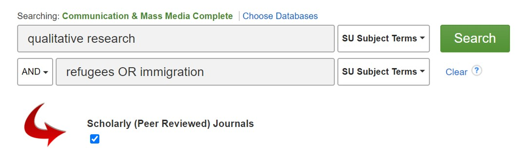 Consider checking the box for Scholarly, Peer Reviewed Journals found midway down the search page.