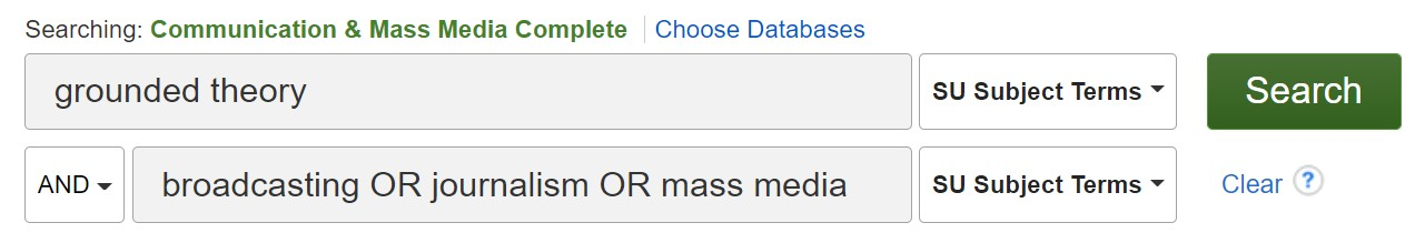 """To search for grounded theory (a type of qualitative research) in CMMC, type """"grounded theory"""" in the first search blank and limit that to """"subject"""". Type your topic in the second (and third) search blanks."""