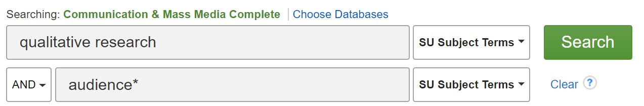 To find qualitative research in CMMC, type the words qualitative research in the first blank as a subject search. Then type your topic in the second blank.