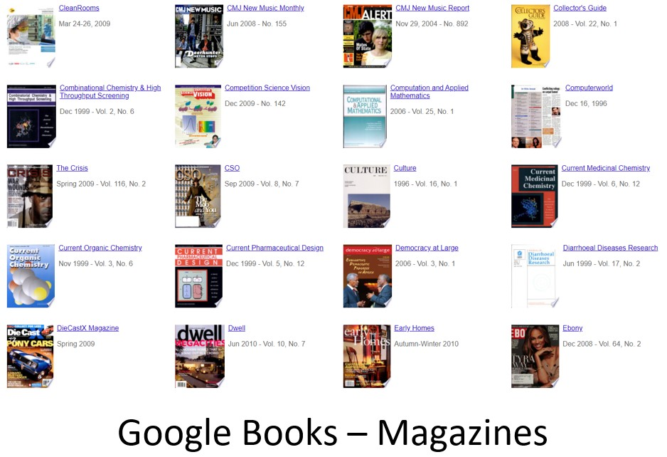 Google Books Magazines provides free online access to roughly 150 different magazines during the period 1982 to the present.