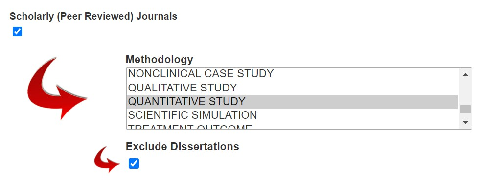 To search for quantitative research In PsycInfo - click on Scholarly (Peer Reviewed) Journals, then choose Quantitative Study out of the Methodology box, and finally click on Exclude Dissertations..