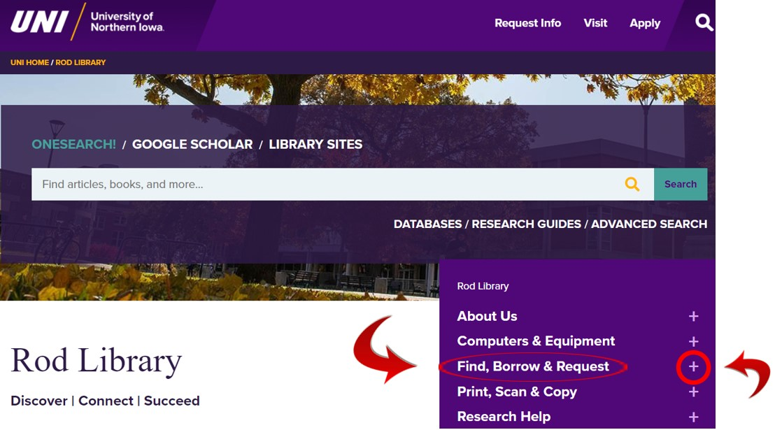 Rod Library website. The Find, Borrow, Request option for interlibrary loan