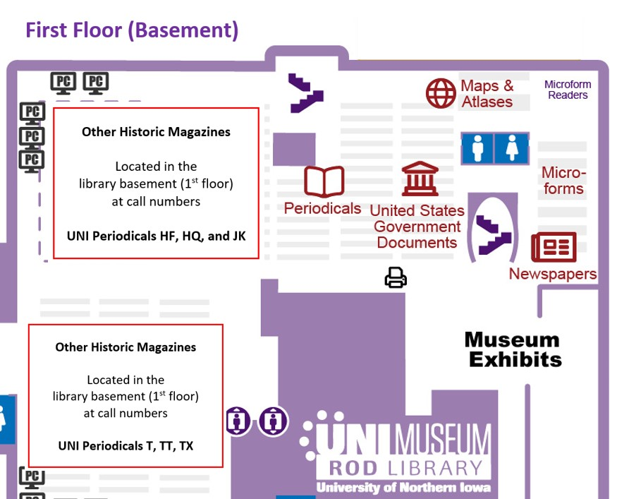 Locations of other historical magazines at call numbers UNI Periodicals HF, HQ, JK, T, TT, and TX