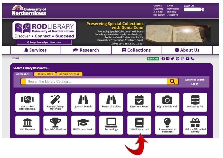 Creating an interlibrary loan account.  First step - finding the interlibrary loan button on the Rod Library website.