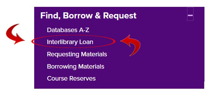 Finding the interlibrary loan link under Find, Borrow & Request ... on the UNI Rod Library website