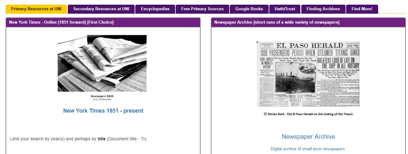 Link to primary history sources page of the National History Day libguide.