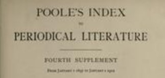 Poole's Index is a print index to nineteenth century periodical literature.  Poole's index is found on the first floor of the Rod Library in the UNI Index/Abstract section.