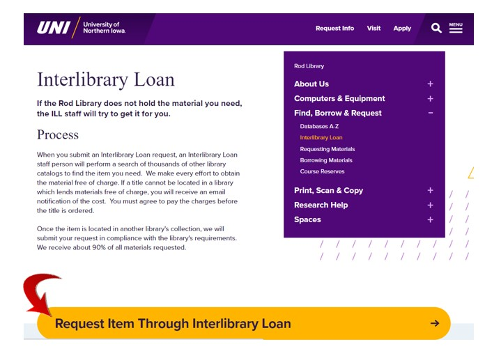 Requesting items through interlibrary loan at Rod Library