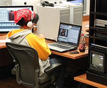 Student using Studio workstation