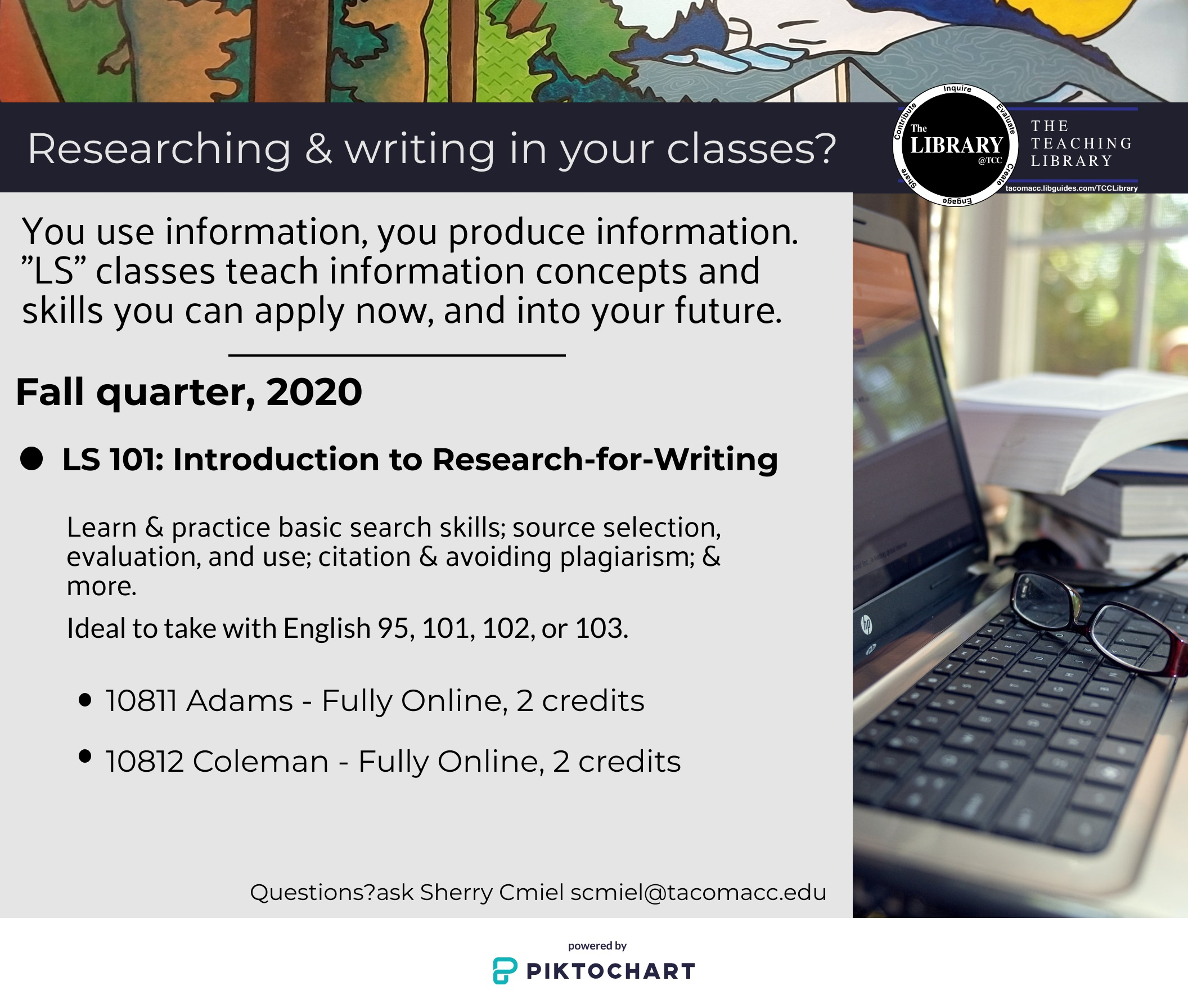 Fall 2020 credit course flier: LS 101. Researching and writing in your classes? LS 101 prepares you for your classes here and beyond with skills and concepts instruction and practice that includes basic and intermediate search skills, source selection, evaluation and use, citation and avoiding plagiarism, and more. Take LS 101 with English 95, 101, 102 or 103. Adams and Coleman teach two full online sections. Questions? Ask Sherry Cmiel at scmiel@tacomacc.edu