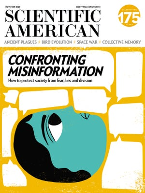 """image of the November 2020 issue of Scientific American """"Confronting Misinformation"""""""