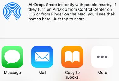 Display of Share Options including the Mail icon