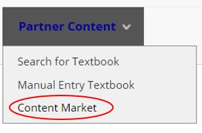 Screen shot of content market link