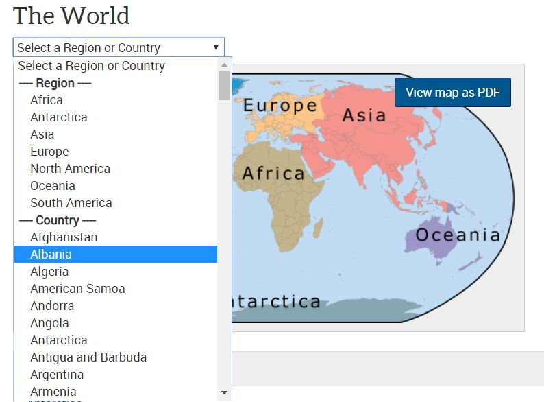 Screenshot of selecting a country from a dropdown menu of countries