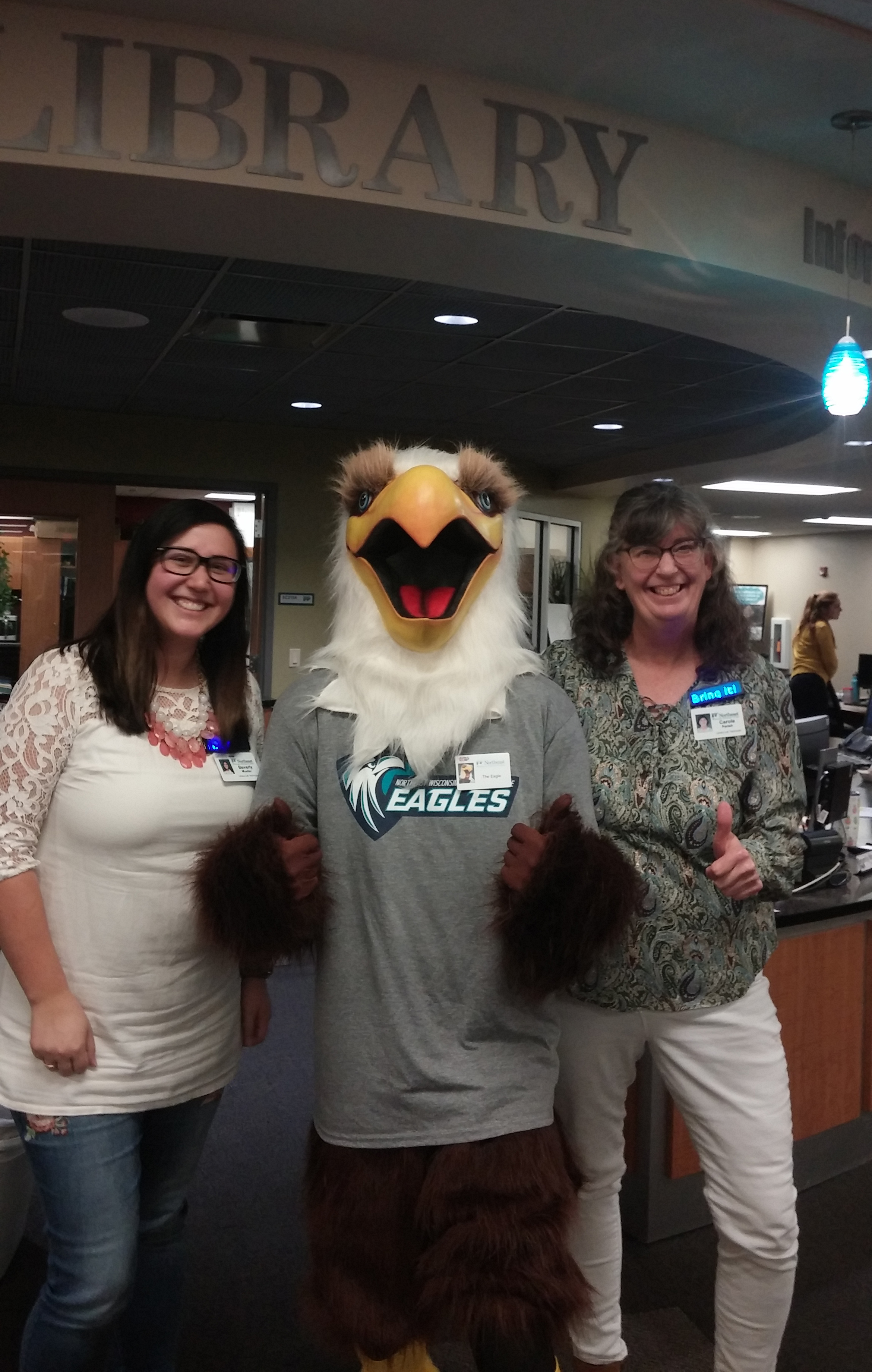 Library Lab Technicians with Eagle
