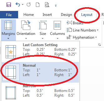 Page layout in Word document, margin settings to 1 inch (normal)