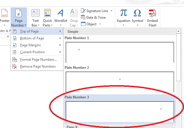 Insert page numbers at top of page in Word document (Plain number 3)