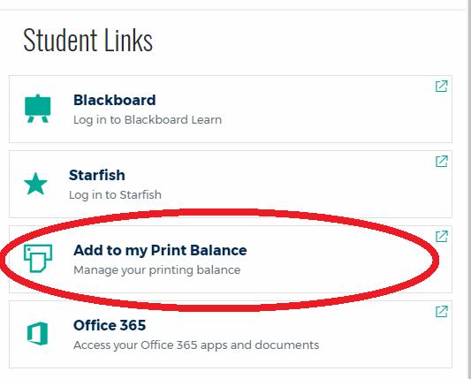 Add money to print balance link
