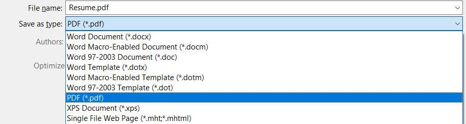 Save As PDF screenshot
