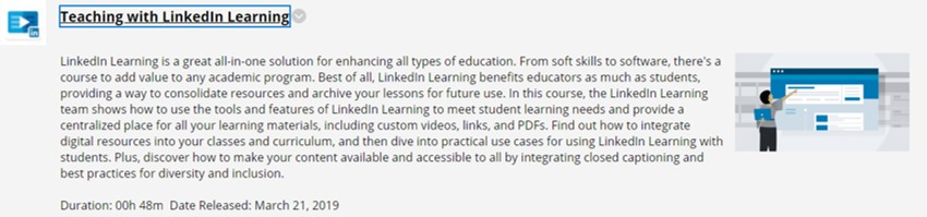 Student view of LinkedIn Learning video