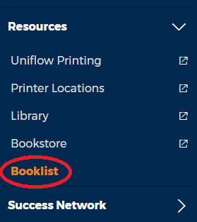 Resources dropdown menu in my.nwtc displaying the Bookstore option