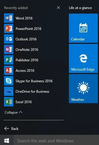 Office applications display in your Start menu