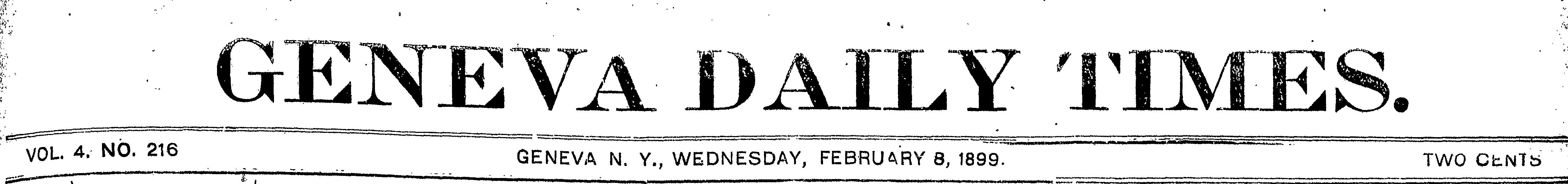 Masthead Geneva Daily Times, February 8, 1899