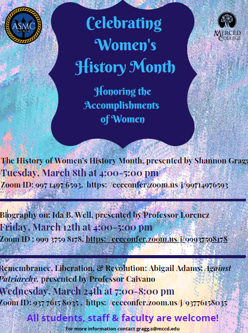 Women's History Month list of activities for March 2021