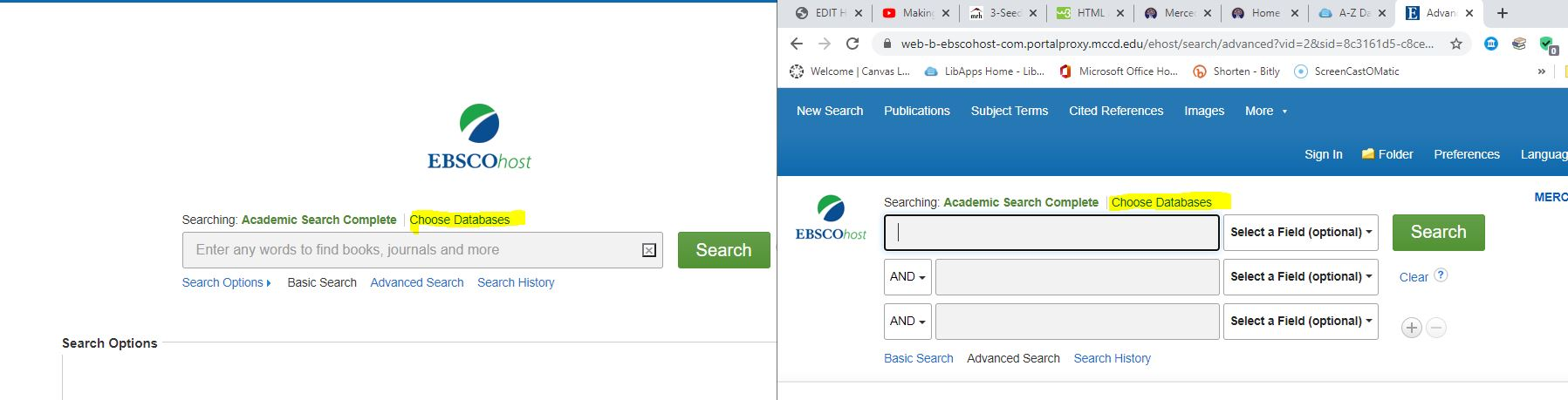 search bars with choose database link highlighted