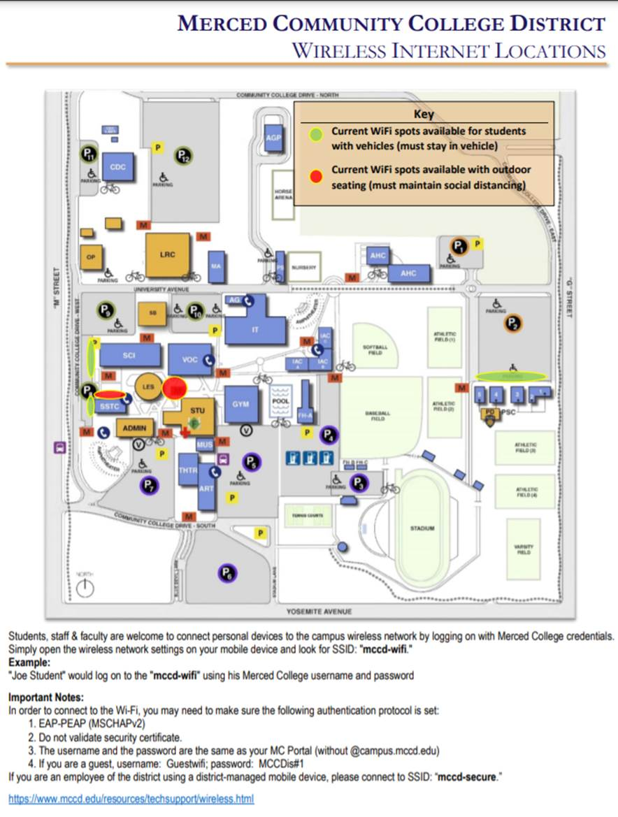 Location of new witi hot spots on campus