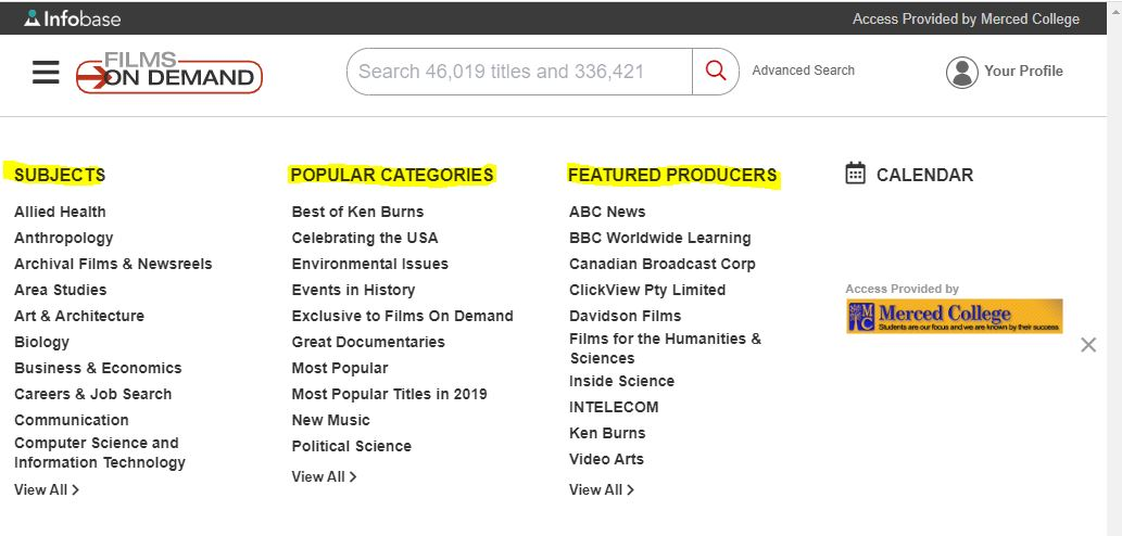 subject, popular categories and featured producers search categories