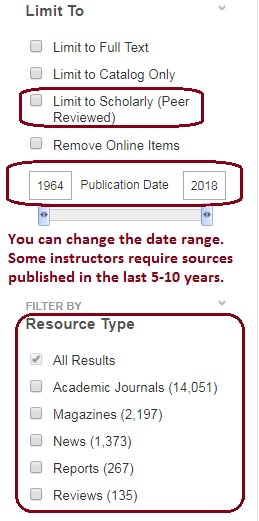 limit to scholarly journals and by publication date and filter by resource type