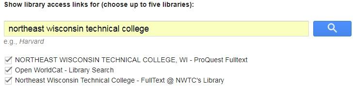 Google Scholar full-text settings for NWTC
