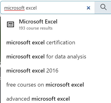 microsoft excel search in LinkedIn Learning