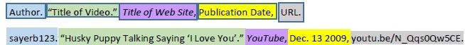 color coded example of MLA citation for YouTube video