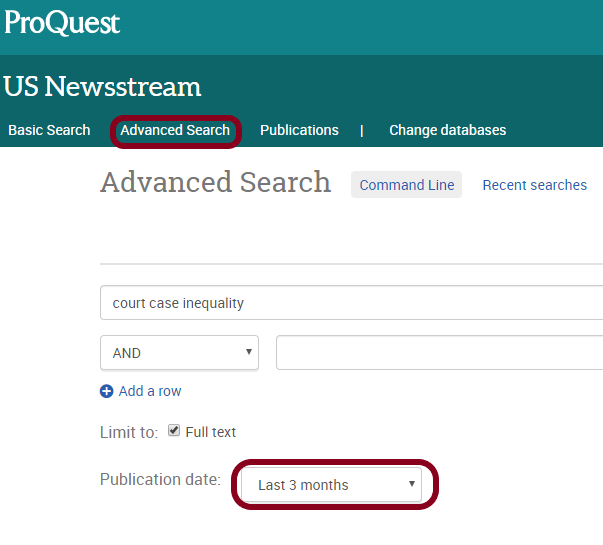 US Newsstream advanced search page