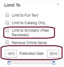 limit to scholarly journals and by publication date