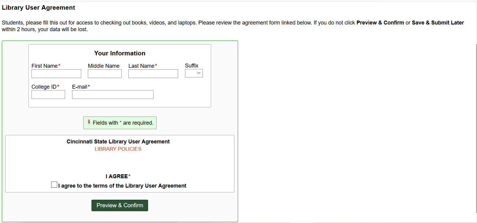 Screenshot of library user agreement form
