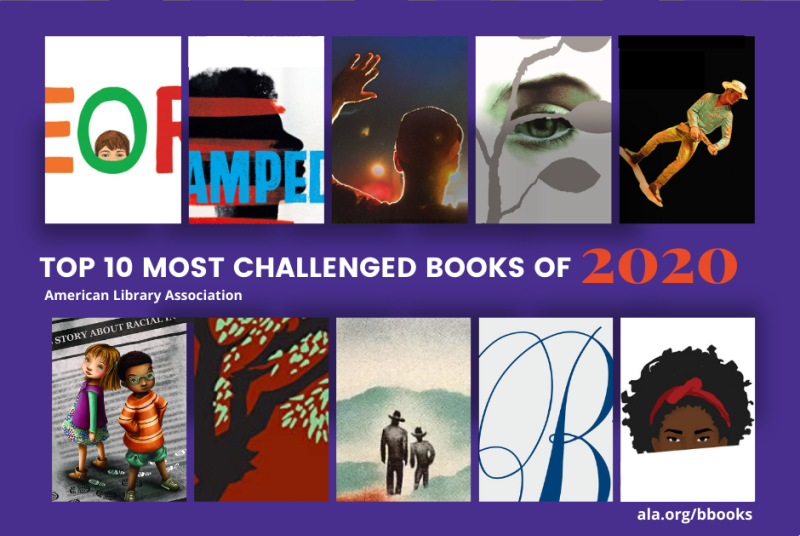Book covers for the 10 Most Challenged Books of 2020