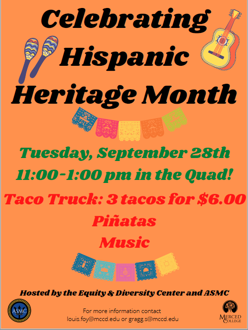 Flyer with Hispanic Heritage Month celebration details